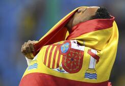 Así celebró Orlando Ortega su medalla de plata