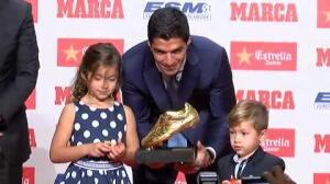 """Suárez recoge su segunda Bota de Oro: """"Teniendo los jugadores que tengo alrededor es todo mucho más fácil"""""""