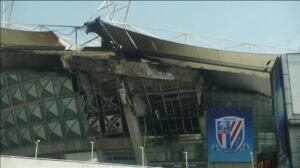 Espectacular incendio del estadio del Shanghai Shenhua