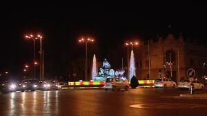 La plaza de Cibeles se tiñe con los colores de Barcelona