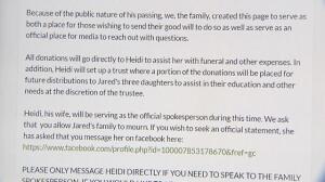 La familia de Jared Tucker recauda dinero para su funeral