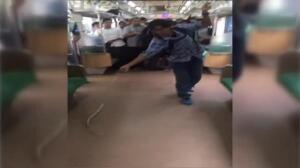 Así se acaba con una serpiente en un tren de Yakarta