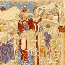 Frescos de Qusair Amra (actual Jordania) con los seis reyes que se rinden al califa omeya, entre ellos Rodrigo
