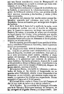 Página de «El Español» donde se dan cuenta de las victorias del Empecinado en Valencia, Guadalajara y Zaragoza