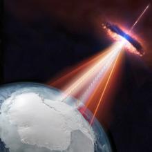 En esta representación artística, un blazar emite tanto neutrinos como rayos gamma que podrían ser detectados por el IceCube