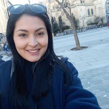 Ninoska en una de las plazas de Madrid