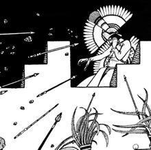 Moctezuma atacado con flechas y piedras por su pueblo desde su palacio